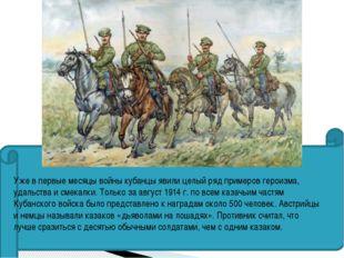 Уже в первые месяцы войны кубанцы явили целый ряд примеров героизма, удальст