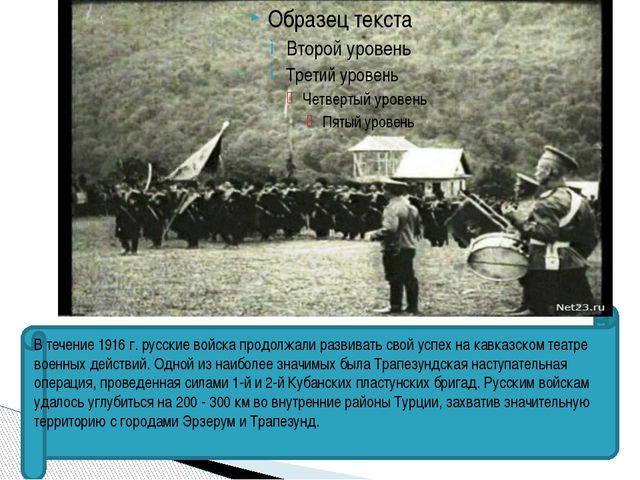 В течение 1916 г. русские войска продолжали развивать свой успех на кавказск...