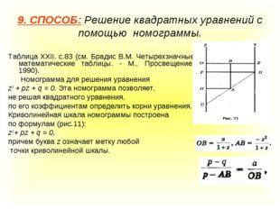 9. СПОСОБ: Решение квадратных уравнений с помощью номограммы. Таблица XXII. с