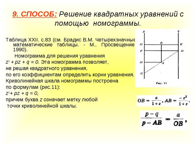 9. СПОСОБ: Решение квадратных уравнений с помощью номограммы. Таблица XXII. с...