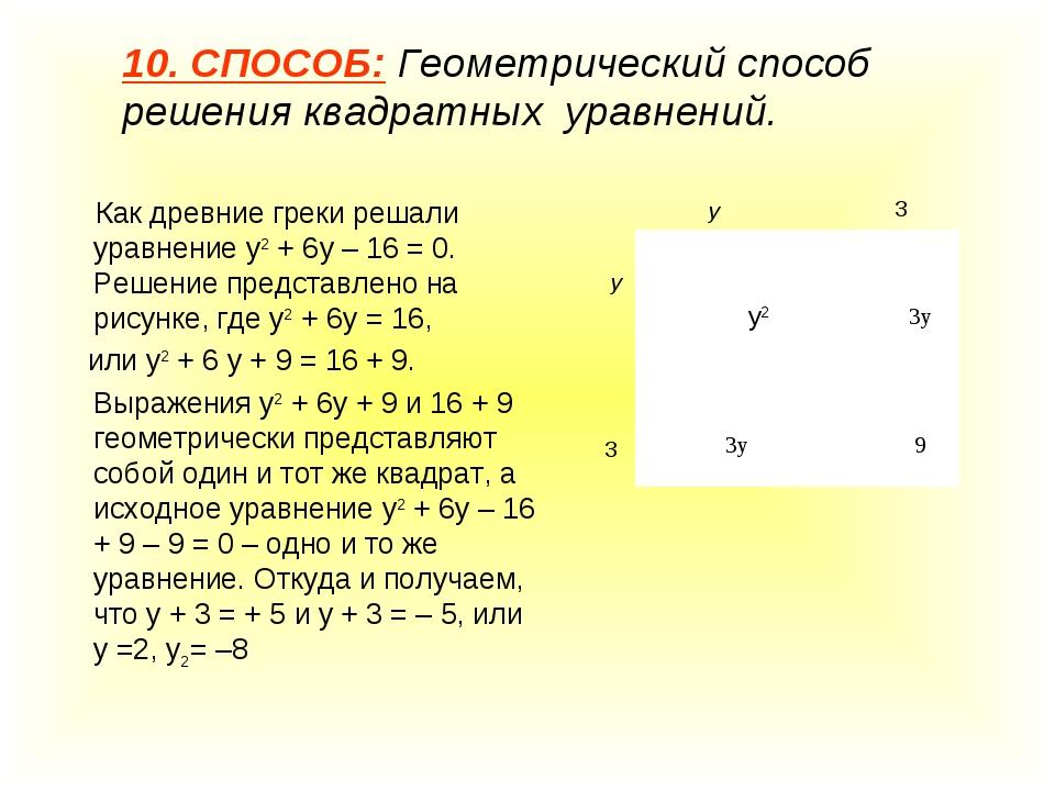 10. СПОСОБ: Геометрический способ решения квадратных уравнений. Как древние г...