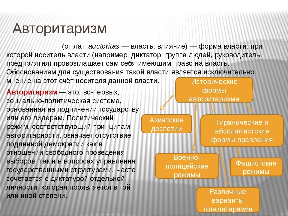 Авторитаризм Авторитари́зм (от лат.auctoritas— власть, влияние)— форма вла...