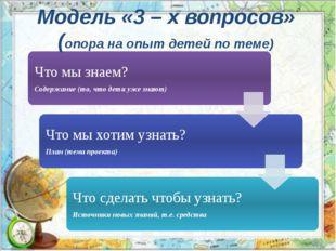 Модель «3 – х вопросов» (опора на опыт детей по теме)