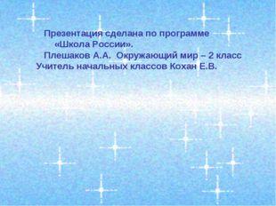 Презентация сделана по программе «Школа России». Плешаков А.А. Окружающий ми