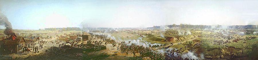 Бой за Семёновский овраг. Фрагмент панорамы Бородинского сражения. Рубо Ф. А. (1912)