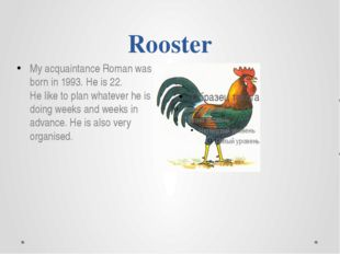 Rooster My acquaintance Roman was born in 1993. He is 22. He like to plan wha