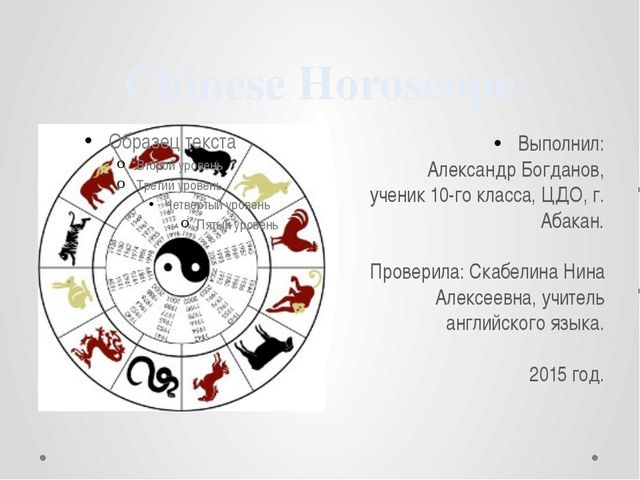 Chinese Horoscope Выполнил: Александр Богданов, ученик 10-го класса, ЦДО, г....