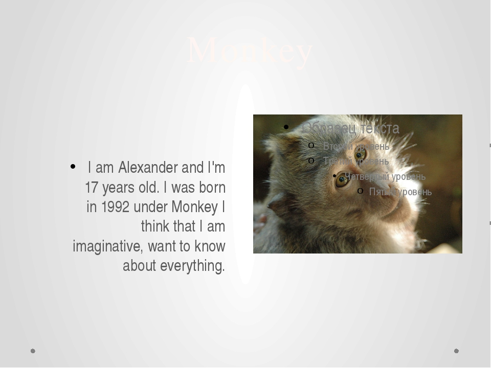 Monkey I am Alexander and I'm 17 years old. I was born in 1992 under Monkey I...