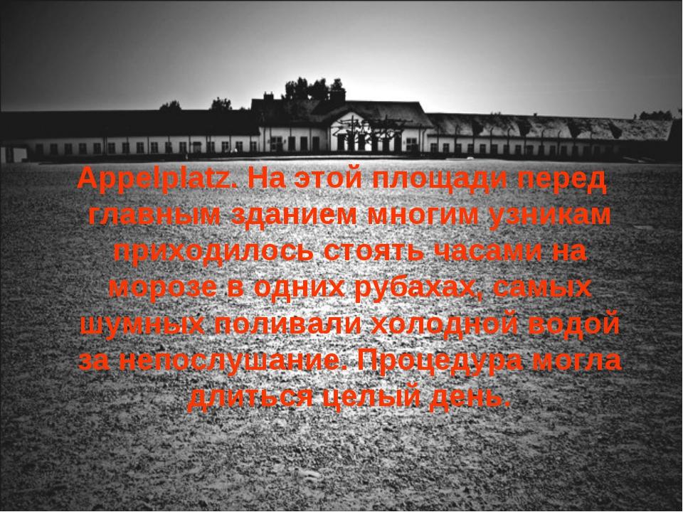 Appelplatz. На этой площади перед главным зданием многим узникам приходилось...