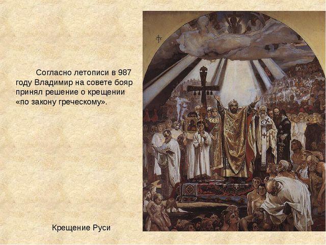 Крещение Руси Согласно летописи в987 годуВладимир на совете бояр принял р...