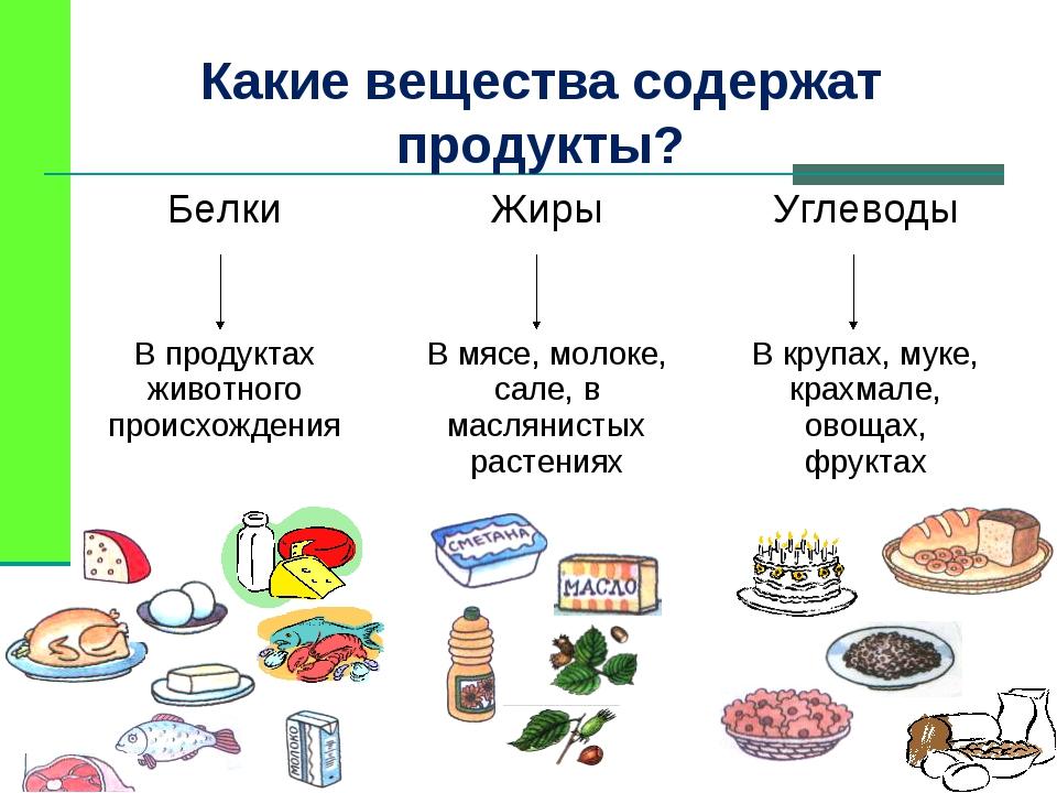 Какие вещества содержат продукты? БелкиЖирыУглеводы  В продуктах живо...