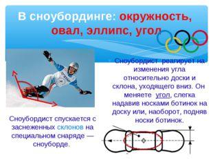 В сноубординге: окружность, овал, эллипс, угол Сноубордист реагирует на измен