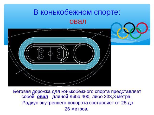 В конькобежном спорте: овал Беговая дорожка для конькобежного спорта представ...