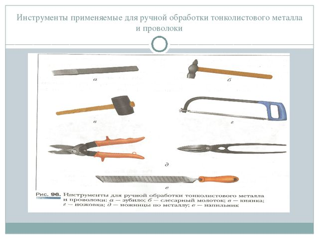 Инструменты применяемые для ручной обработки тонколистового металла и проволоки