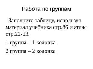 Работа по группам Заполните таблицу, используя материал учебника стр.86 и атл