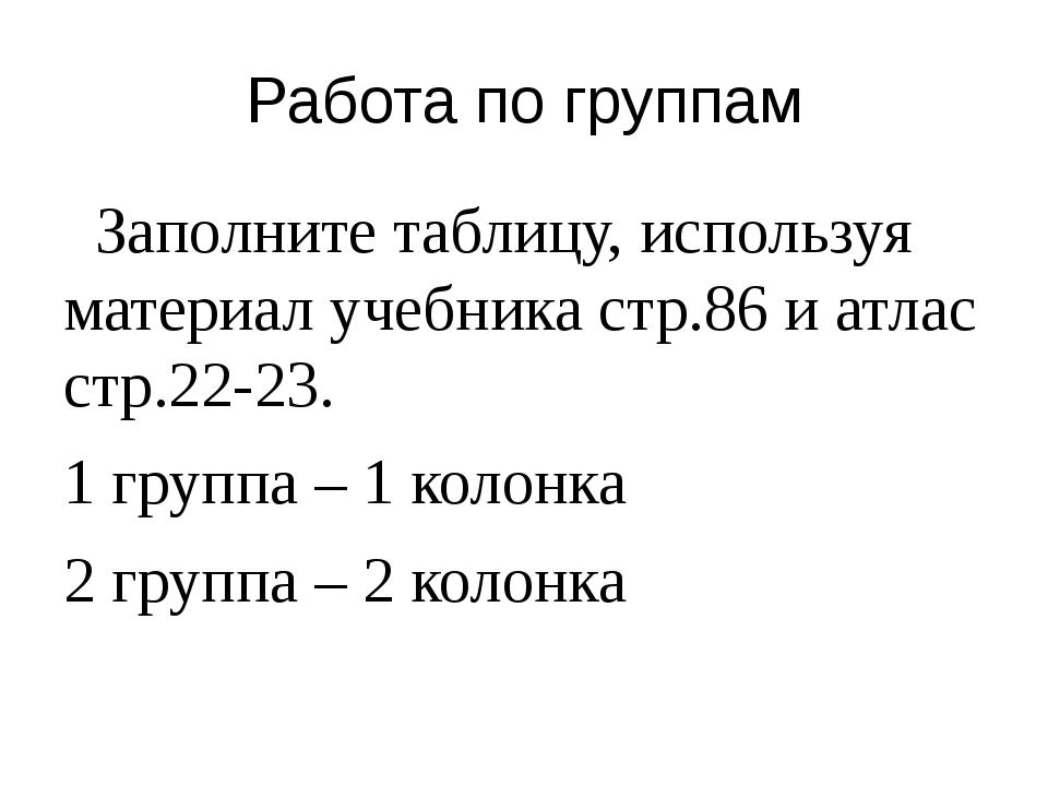 Работа по группам Заполните таблицу, используя материал учебника стр.86 и атл...
