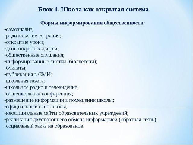 Блок 1. Школа как открытая система Формы информирования общественности: самоа...