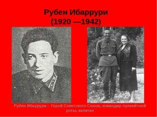 Рубен Ибаррури (1920 —1942) Рубен Ибаррури - Герой Советского Союза, командир
