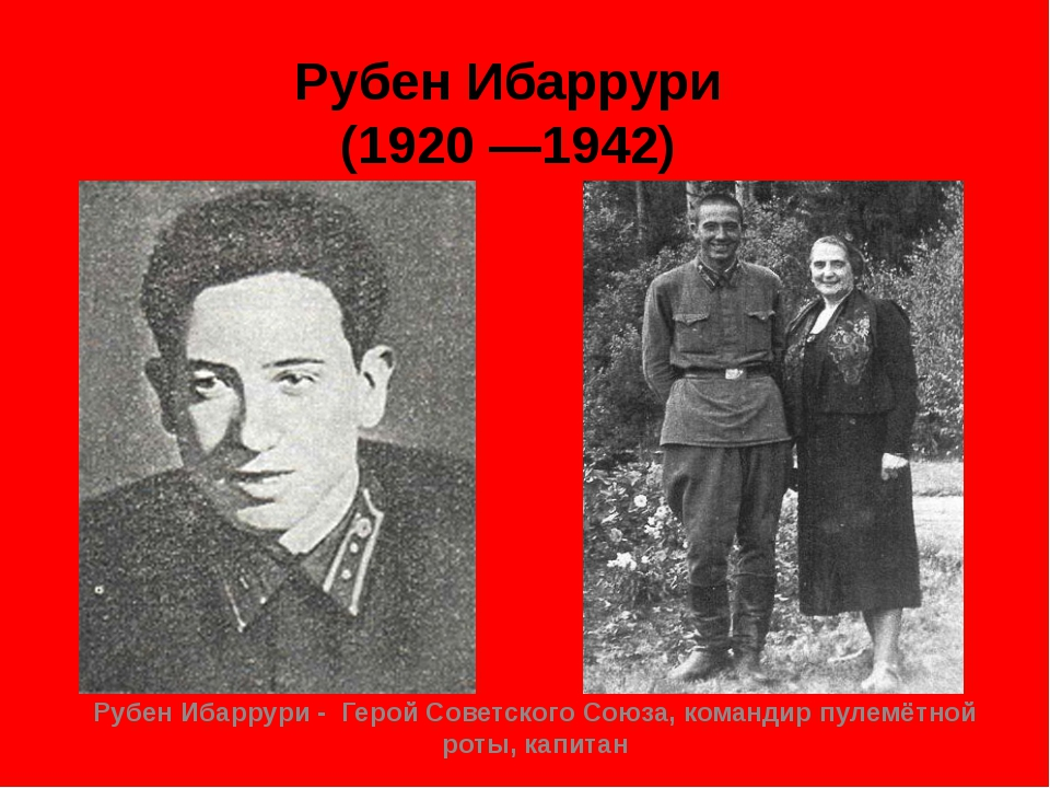 Рубен Ибаррури (1920 —1942) Рубен Ибаррури - Герой Советского Союза, командир...