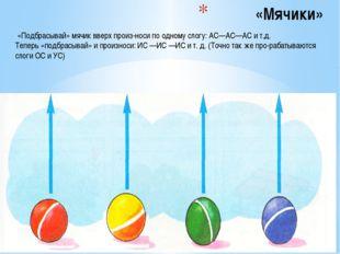 «Мячики» «Подбрасывай» мячик вверх произноси по одному слогу: АС—АС—АС и т.д