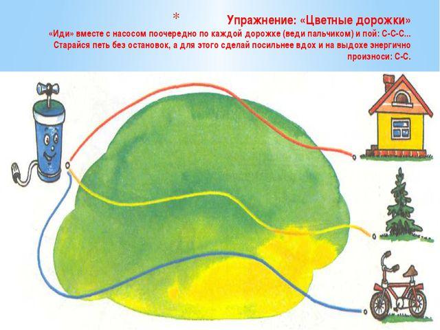 Упражнение: «Цветные дорожки» «Иди» вместе с насосом поочередно по каждой дор...