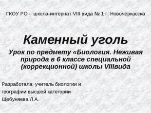 ГКОУ РО - школа-интернат VIII вида № 1 г. Новочеркасска Каменный уголь Урок п