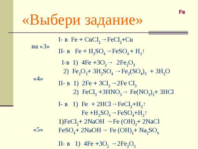 «Выбери задание» Fe на «3»I- в Fe + CuCl2→FeCl2+Cu II- в Fe + H2SO4→FeSO4 +...