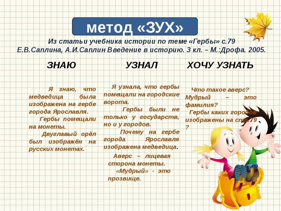 метод «ЗУХ» Я знаю, что медведица была изображена на гербе города Ярославля....