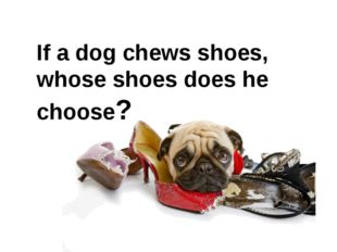 If a dog chews shoes, whose shoes does he choose?