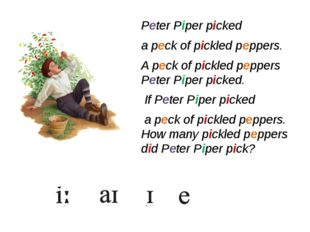 Peter Piper picked a peck of pickled peppers. A peck of pickled peppers Peter