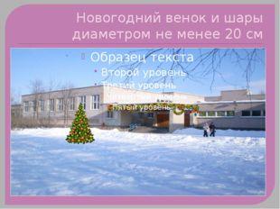 Новогодний венок и шары диаметром не менее 20 см