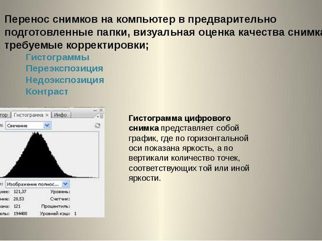 Перенос снимков на компьютер в предварительно подготовленные папки, визуальна...