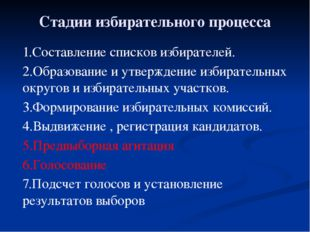 Стадии избирательного процесса 1.Составление списков избирателей. 2.Образован