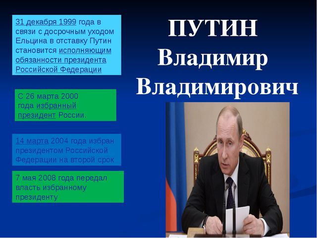 ПУТИН Владимир Владимирович 31 декабря1999 года в связи с досрочным уходом...