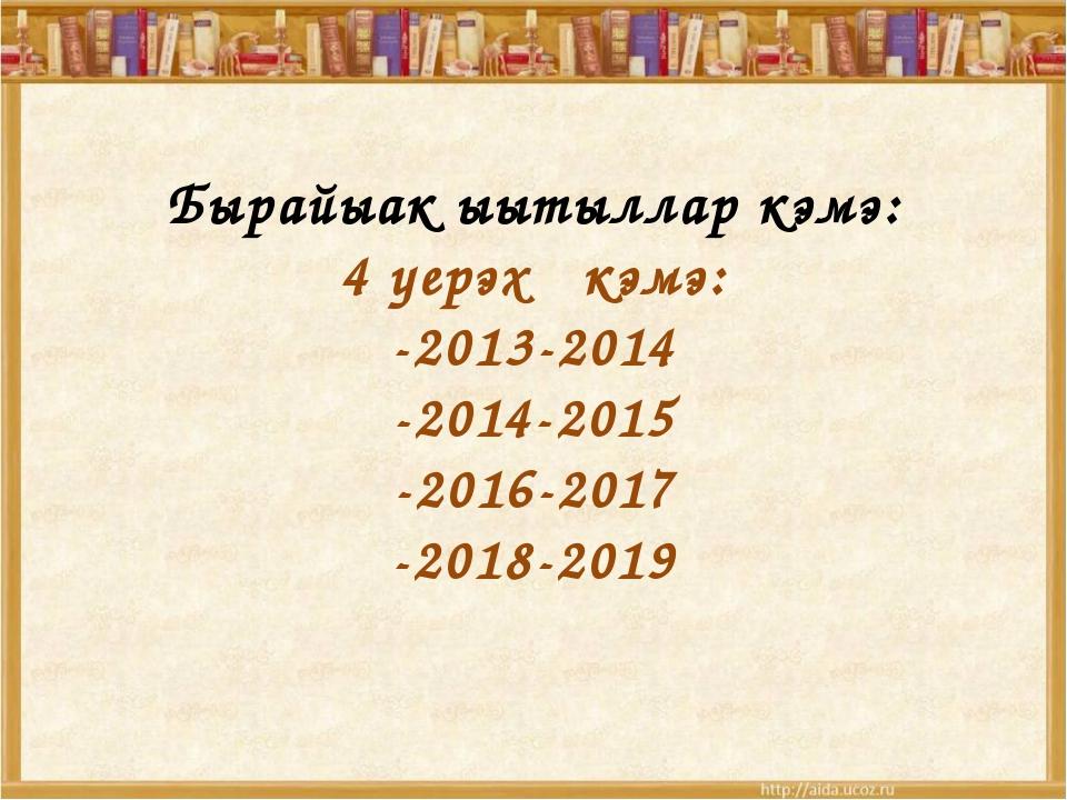 Бырайыак ыытыллар кэмэ: 4 уерэх кэмэ: -2013-2014 -2014-2015 -2016-2017 -2018...