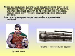 Много раз ордынцы пытались по бродам перейти Угру, но их отбивали русские пуш