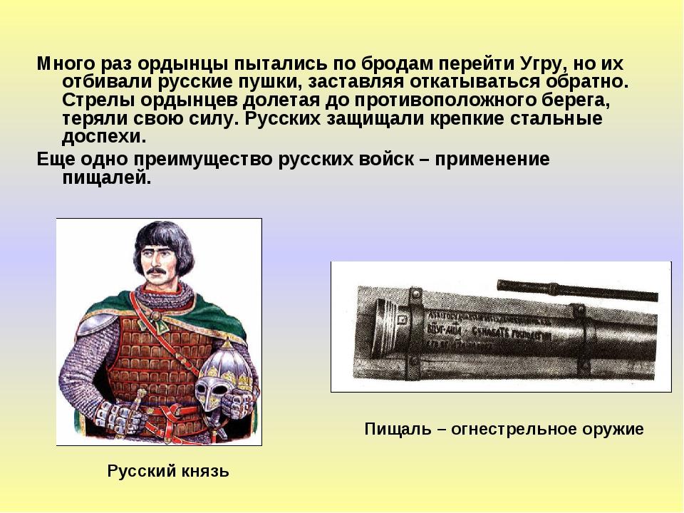 Много раз ордынцы пытались по бродам перейти Угру, но их отбивали русские пуш...