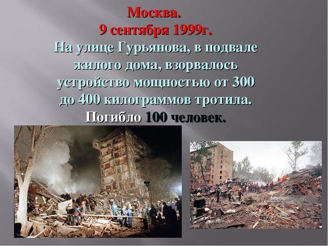 Москва. 9 сентября 1999г. На улице Гурьянова, в подвале жилого дома, взорвало...