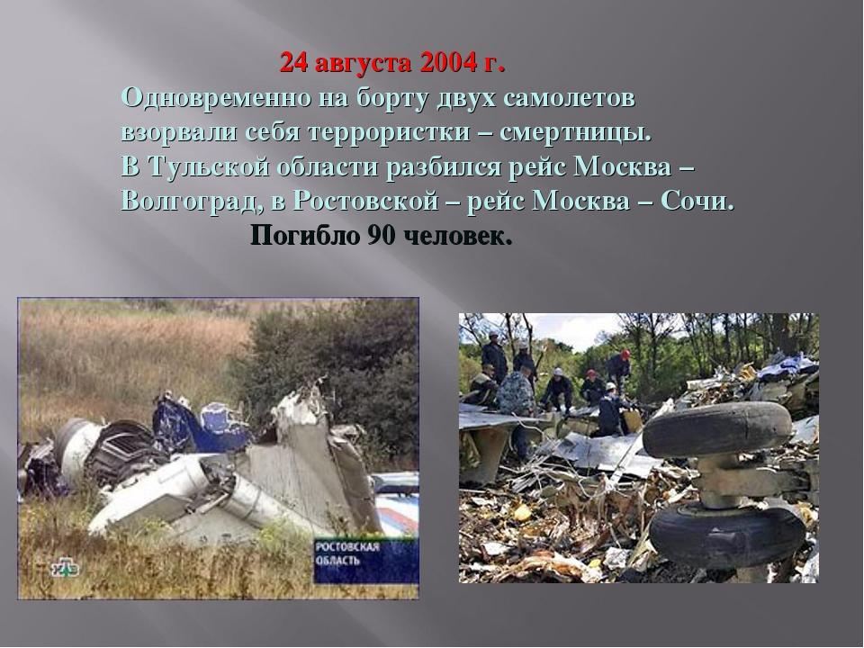 24 августа 2004 г. Одновременно на борту двух самолетов взорвали себя террор...
