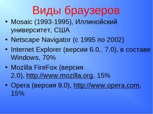 Виды браузеров Mosaic (1993-1995), Иллинойский университет, США Netscape Navi