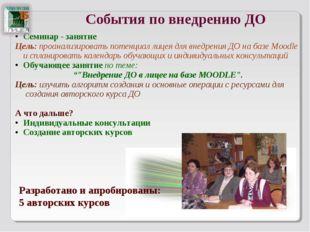 События по внедрению ДО Семинар - занятие Цель: проанализировать потенциал ли