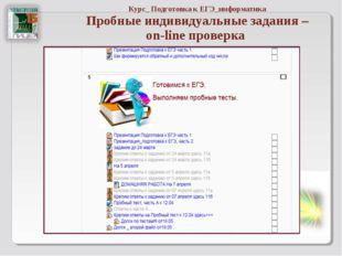 Курс_ Подготовка к ЕГЭ_информатика Пробные индивидуальные задания – on-line п