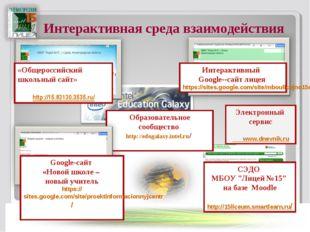 Интерактивная среда взаимодействия Интерактивный Google--сайт лицея https://s