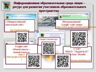 Информационная образовательная среда лицея – ресурс для развития участников о
