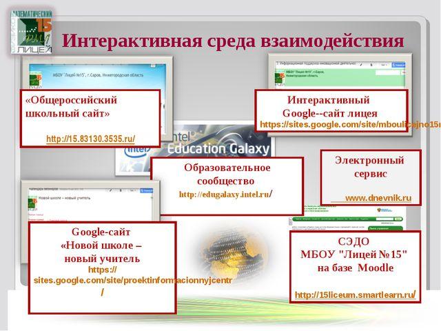 Интерактивная среда взаимодействия Интерактивный Google--сайт лицея https://s...