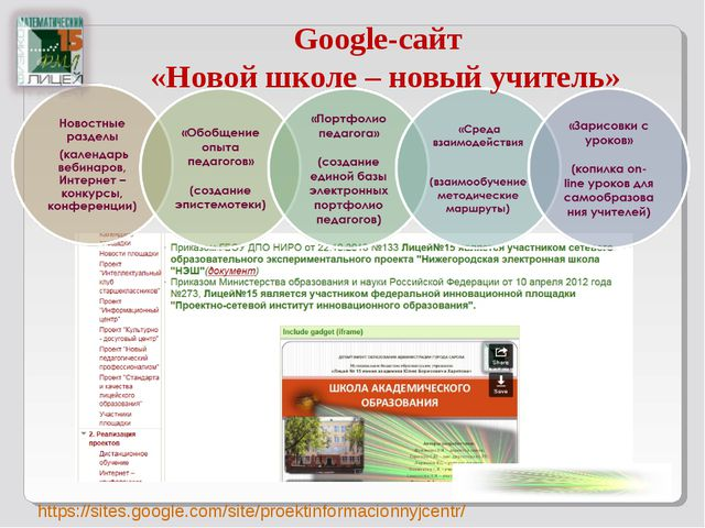 Google-сайт «Новой школе – новый учитель» https://sites.google.com/site/proek...