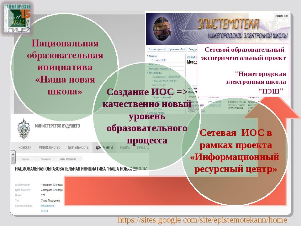 """Сетевой образовательный экспериментальный проект """"Нижегородская электронная ш..."""