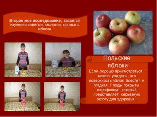 Второе мое исследование, касается изучения советов экологов, как мыть яблоки.