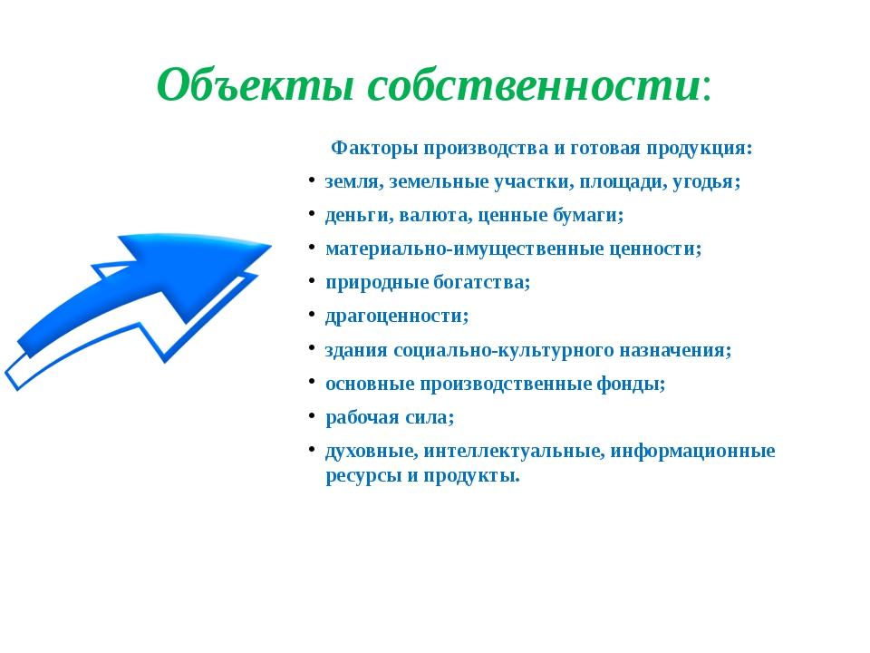 Объекты собственности: Факторы производства и готовая продукция: земля, земе...