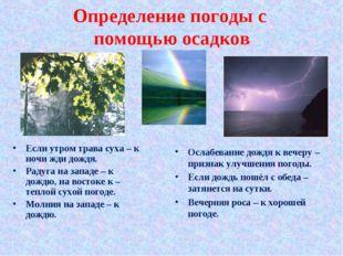 Определение погоды с помощью осадков Если утром трава суха – к ночи жди дождя